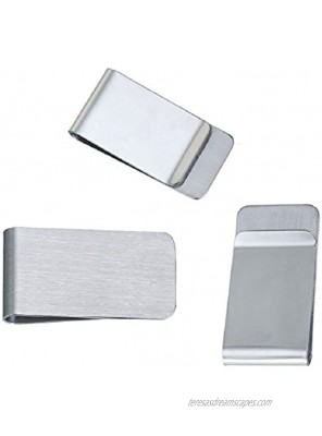 JGFinds Metal Money Clip 3 Pack Stainless Steel Money Clip Engraving Blanks 2x1 Gift Personalized Money Clips for Men