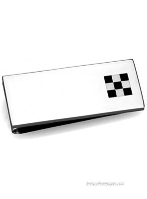Silver Tone Stainless Steel Money Clip with Black and White Checker Detail