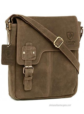 100% Pure Genuine Real Vintage Hunter Leather Handmade Mens Women Leather Flapover Everyday Crossover Shoulder Work iPad Messenger Bag Distressed Light Brown
