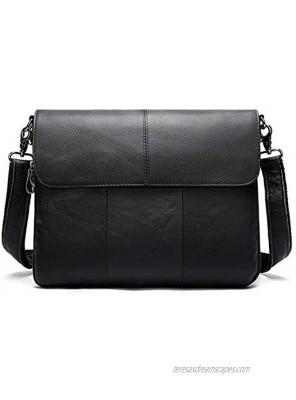 BAIGIO Men's Genuine Leather Laptop Briefcase Handmade Computer Handbag Business Messenger Bag Shoulder Satchel