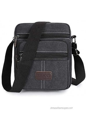 Men Canvas Shoulder Bag Crossbody Small Retro Canvas Satchel Multi Purpose Canvas Messenger Bag