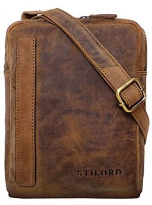 STILORD 'John' Small Men's Leather Shoulder Bag Vintage Cross Body Cross Over for 8.4 Inch Tablet Handbag in Genuine Leather