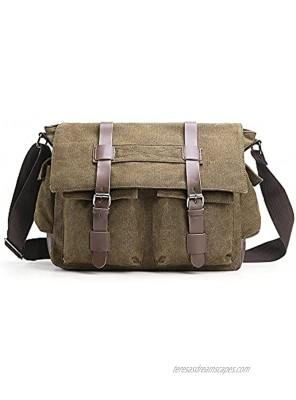 Verlenpaple Canvas Messenger Bag Men's Shoulder Bag with Multiple Pocket Vintage Shoulder Bag medium for School Work Travel