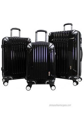 AMKA 3-piece Tsa Locks Hardside Upright Spinner Luggage Set Black