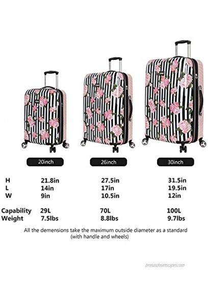 Betsey Johnson Designer Luggage Collection Expandable 3 Piece Hardside Lightweight Spinner Suitcase Set Travel Set includes 20-Inch Carry On 26 inch and 30-Inch Checked Suitcase Stripe Roses