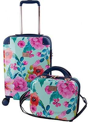 Chariot 2-piece set Hardside Expandable Carry On Luggage With Matching Beauty Case Floral