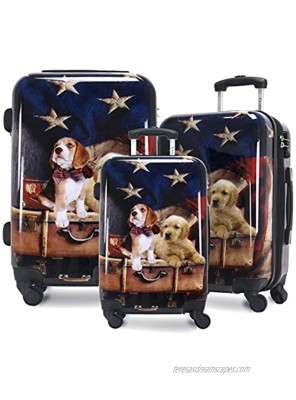 Chariot Printed Expandable Hardside Spinner Luggage Set Freedom Pups 3-Piece 20 24 28