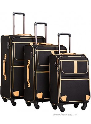 Coolife Luggage 3 Piece Set Suitcase with TSA lock pinner softshell 20in24in28in Black.