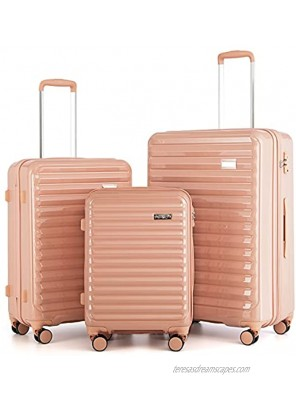 """Coolife Luggage Suitcase 3 Piece Set expandable only 28"""" ABS+PC Spinner suitcase with TSA Lock carry on 20 in 24in 28in sakura pink"""