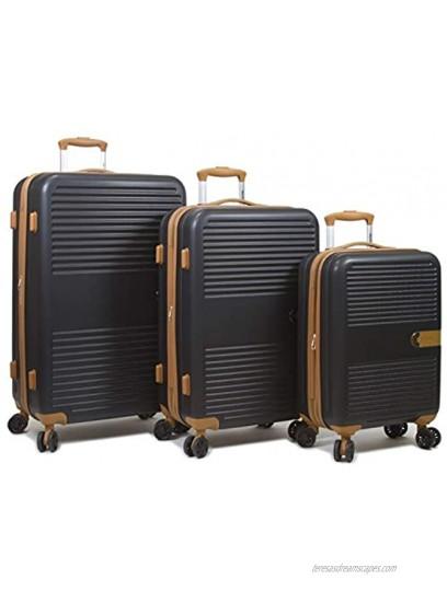 Dejuno Garland Hardside 3-Piece Spinner Luggage Set With USB Port Black