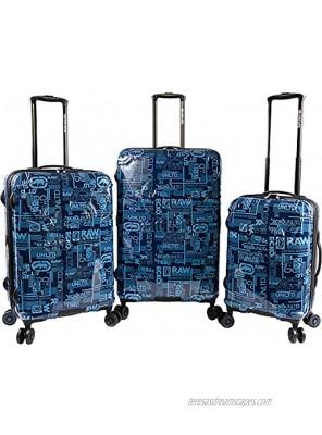 Ecko Unltd. Men's Garrison 3 Piece Expandable Hardside Spinner Luggage Set Navy One Size