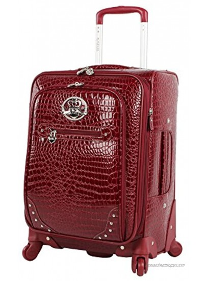 Kathy Van Zeeland Croco PVC Designer Luggage 4 Piece Softside Expandable Lightweight Spinner Suitcases Travel Set includes a Dowel and Shopper Bags 20-Inch Carry On & 28-Inch Suitcase Burgundy