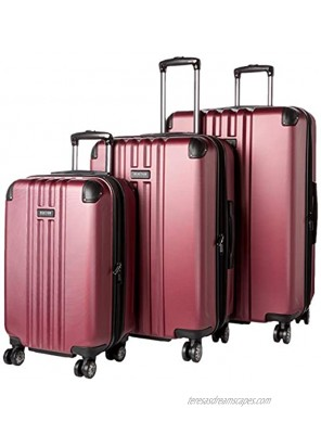 """Kenneth Cole Reaction Reverb Hardside 8-Wheel 3-Piece Spinner Luggage Set: 20"""" Carry-on 25"""" 29"""" Raspberry"""