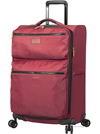 Lucas Designer Luggage Collection 3 Piece Softside Expandable Ultra Lightweight Spinner Suitcase Set Travel Set includes 20 Inch Carry On 24 Inch & 28 Inch Checked Suitcases Red
