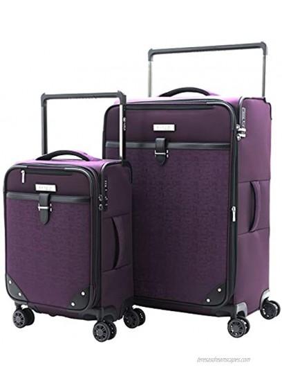 M&A Encore Wide Trolley Spinner Luggage with TSA Lock Purple 2-Piece Set 20 28