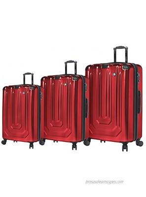 Mia Toro Italy Alluminio Polish Hardside Spinner Luggage 3pc Set Red One Size