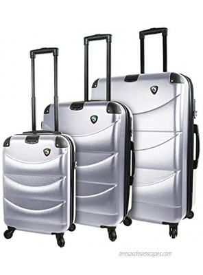 Mia Toro Italy Cadeo Hardside Spinner Luggage 3pc Set Silver One Size