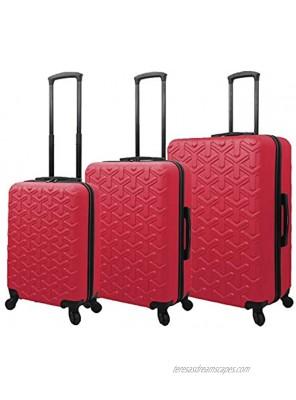 Mia Toro Italy Molded Art Braid Hard Side Spinner Luggage 3 Piece Set Plum One Size