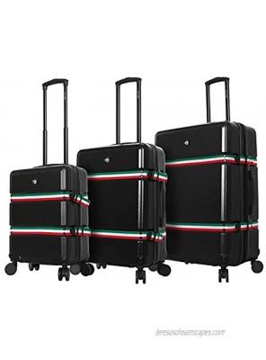Mia Toro Italy Nastro Hard Side Spinner Luggage 3 Piece Set Black One Size