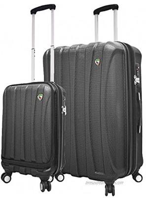 Mia Toro Italy Tasca Fusion Hardside Spinner Luggage 2pc Set Black One Size