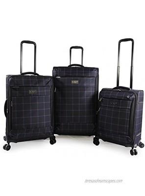 Original Penguin Original 3pc Expandable Suitcase Set with Spinner Wheels Navy Plaid One Size