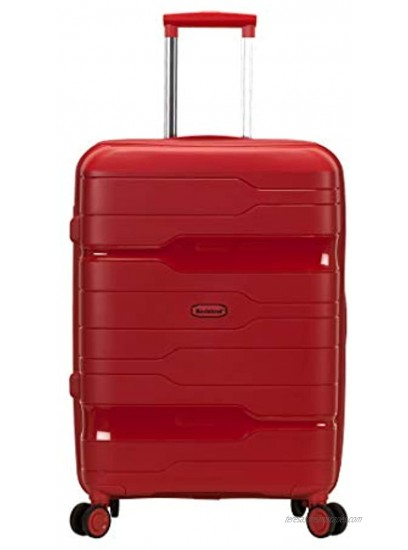 Rockland Linear 3-Piece Hardside Spinner Wheel Luggage Set Red 19 23 27