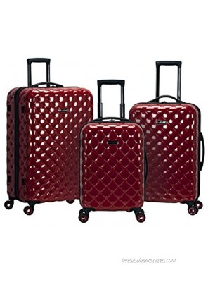 Rockland Quilt Hardside Expandable Spinner Wheel Luggage Set Red 3-Piece 20 24 28