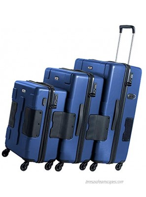 TACH V3 Hard Shell 3 Piece Luggage Set 22 24 & 28 inch Luggage   Carry On Medium & Large Checked Suitcases   Patented Built-In Connecting System   Rolling Suitcase Links 6 Bags Midn Blue
