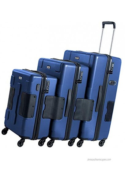 TACH V3 Hard Shell 3 Piece Luggage Set 22 24 & 28 inch Luggage | Carry On Medium & Large Checked Suitcases | Patented Built-In Connecting System | Rolling Suitcase Links 6 Bags Midn Blue
