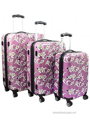 TRANSWORLD Tropical Flower 3-piece Expandable Spinner Luggage Set Pink