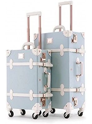 UNIWALKER 2 Piece Vintage Luggage Set 26inch Spinner Trunk with 20inch Carry on Cute Suitcase for Women Embossed Blue