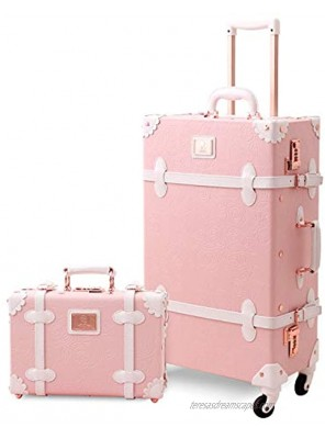 UNIWALKER Vintage Suitcase Set 24 inch Retro Spinner Trunk Luggage with 12 inch Train Case for Women Embossed Pink