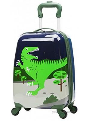 WCK Cartoon Kids Carry on Luggage Set Upright Rolling Wheels Travel Suitcase for Boys dinosaur set