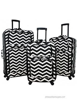World Traveler 3-piece Expandable Spinner Luggage Set-Black White Chevron One Size