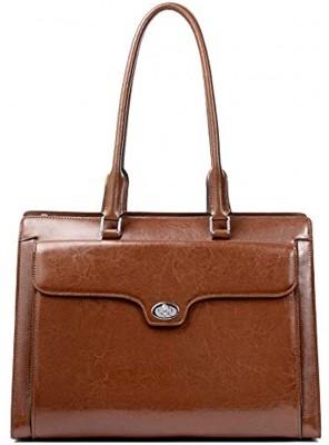 CLUCI Briefcase for Women Oil Wax Leather Vintage 15.6 Inch Laptop Business Shoulder Bag