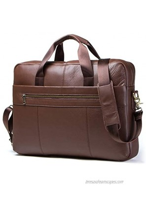 Contacts Genuine Leather Mens Messenger Briefcase 14 Laptop Bag