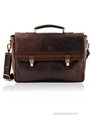 Lakeland Leather Men's Real Leather Large Keswick Smart Work Briefcase with Grab Handle and Removable Shoulder Strap