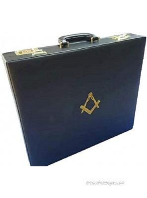 Masonic Regalia MM WM Mason Apron Hard Case Briefcase with Yellow Compass Leather Grand Case