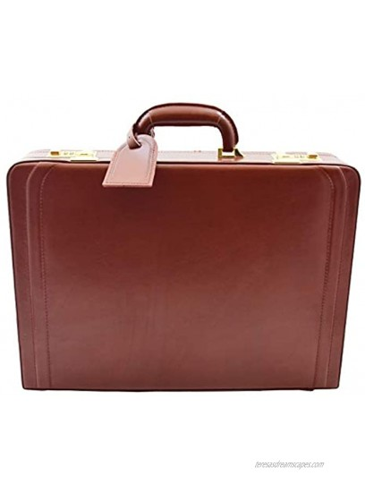 Mens Real Leather Attache Case Classic Executive Briefcase Business Office Bag HLG700 Cognac
