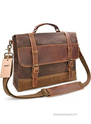 NEWHEY Messenger Bag Leather Laptop Bag Briefcase Case 15 inch Waxed Waterproof Canvas Leather Briefcase Mens Genuine Leather Large Satchel Computer Bag Shoulder College Bag-Brown