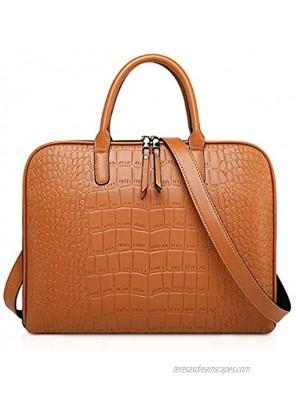 NICOLE & DORIS Laptop Bags for Women 13-14 Inch Large PU Leather Tote Bag Men Laptop Handbag Ladies Business Work Bag Retro Leather Briefcase Brown