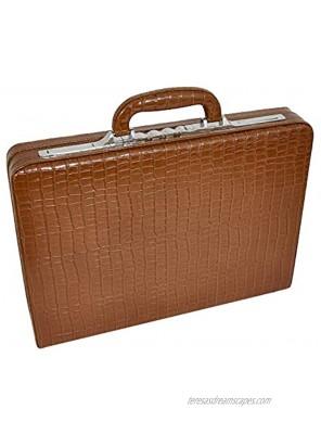 Slimline Brown Leather Attache Case Croc Print Briefcase Dual Lock Office Bag Mark