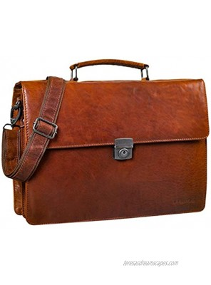 'STILORD 'Robert' Leather Briefcase with 15.6 inches Laptop Compartment Portfolio Men & Women Classic Design Business Work Bag Leather Black Colour:Brandy Brown