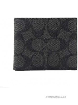 Coach ID Billfold Wallet In Signature Canvas Charcoal Black