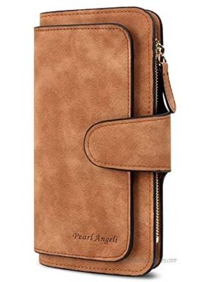 RFID Womens Wallets Fashion PU Leather Trifold Clutch Long Ladies Purse Credit Card Holder Wallet Organizer