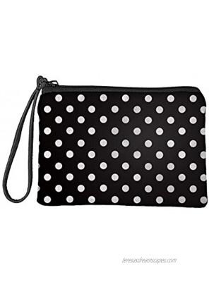 COEQINE Polka Dot Print Wallet for Women Soft Small Coin Purse with Zipper Tote Handbag