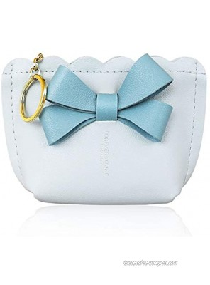 Conisy Womens Small Wallet Leather Zip Mini Cute Coin Purse With Key Ring Square,Light blue