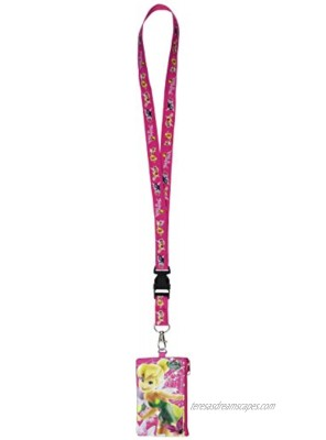 Disney Tinkerbell Fairies Lanyard with Fast Pass Coin Pouch ID Holder Pink