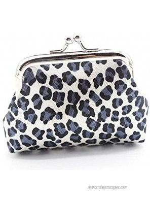 Leopard Mini Grain Coin Purse- Clasp Pouch Wallet Key Bags Perfect Present for Women Girls Lovely Purses Wallets Buckle Party Favors