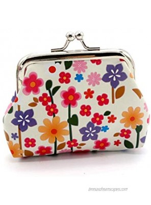 Lovely Flowers Pattern Coin Purse- Mini Flower Design Clasp Pouch Wallet Key Bags Money Bag Perfect Gifts for Girls Purses Women Wallets Buckle Party Favors
